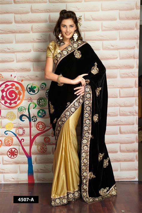 cc 0109 cp maharani maroon half and half black velvet saree with golden silk designer