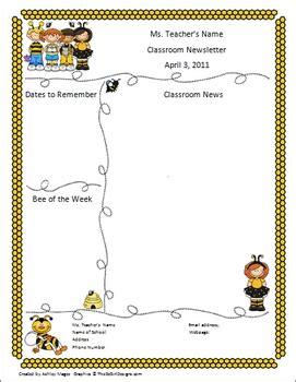 Teacher Newsletter Template Bumble Bee Theme By Mrs Magee Tpt Free November Newsletter Templates