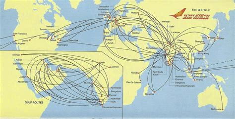 flight route map from india to usa airline memorabilia air india 2007 2008