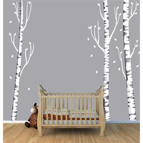 Wall Stickers Space tree wall art with birch tree wall decals for kids rooms
