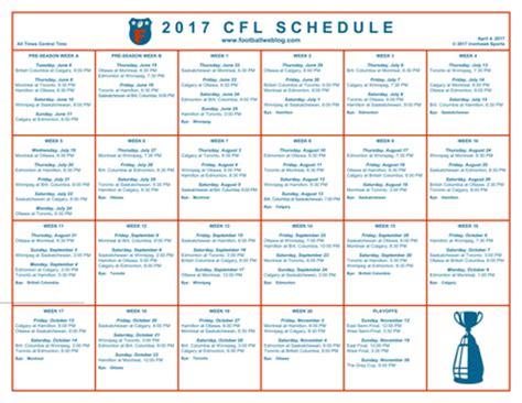 printable nfl schedule one page fantasy football ideas