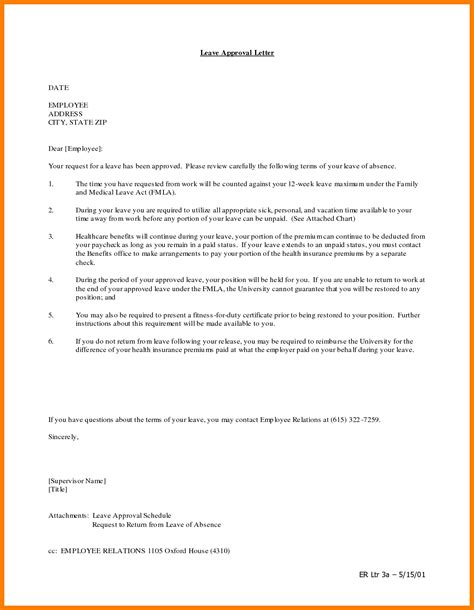 leave request letter format 6 leave letter for vacation park attendant