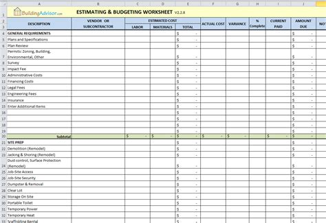Download Estimating Budgeting Spreadsheet Gantt Chart Excel Template Estimate Template Excel