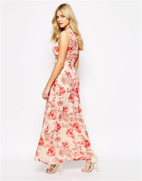 Taypia Flowery Maxi Dress lyst oasis asis floral embellished maxi dress in pink
