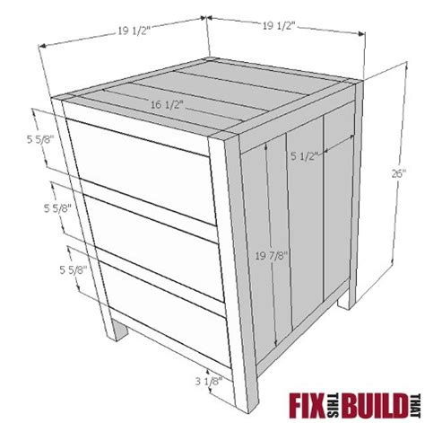 Nightstand Measurements by Diy Nightstand With 3 Drawers Free Easy Plans