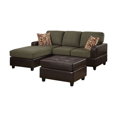 manhattan sectional poundex bobkona manhattan sectional and leather ottoman in
