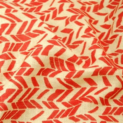 patterned hessian fabric printed red funky chevron woven natural burlap jute
