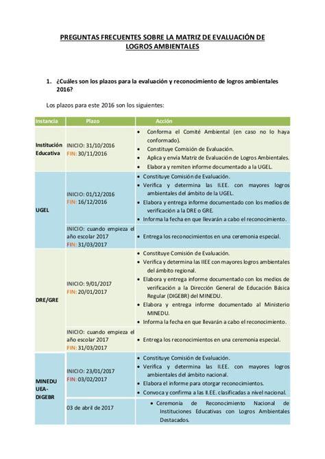 matriz de competencia 2016 matriz de logros ambientales 2016