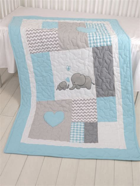 Patchwork For Babies - aqua gray blanket elephant quilt blanket chevron baby