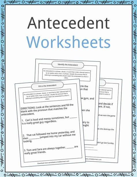 free download pronouns and antecedents worksheets