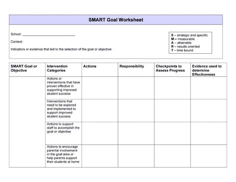 smart goals template exles worksheets