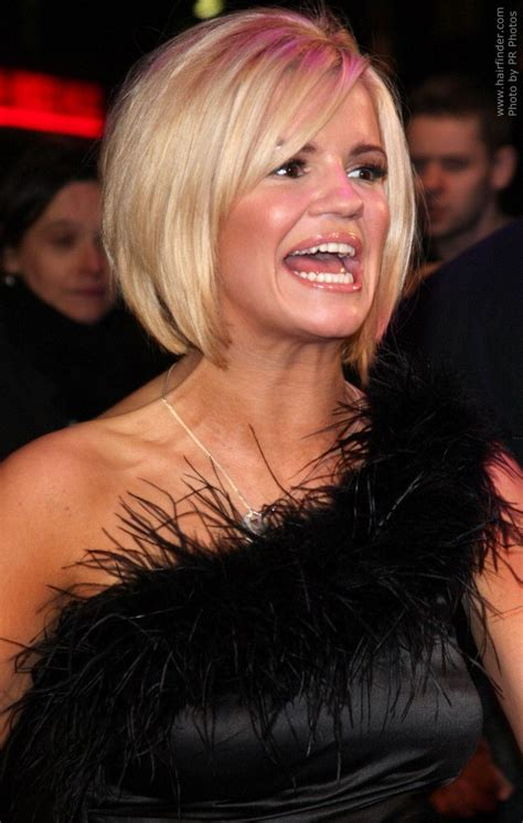 Kerry Katona's tattoo and her below the chin bob with a