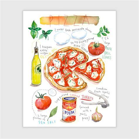affiche deco cuisine pizza recette illustr 233 e aquarelle d 233 coration cuisine