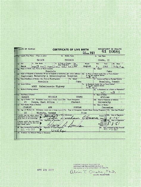 George H W Bush Date Of Birth by Real Birth Certificates Obama Released What He Claims Is