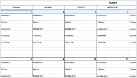 Monthly Social Media Content Calendar Template