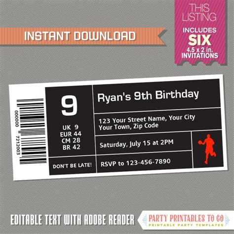 Air Jordan Style Basketball Ticket Invitation Instant Download Basketball Birthday Shoe Box Label Template