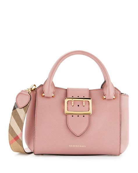 burberry buckle small leather tote bag dusty pink