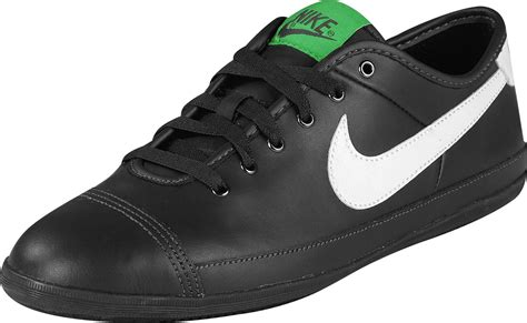 nike flash leather shoes black white green