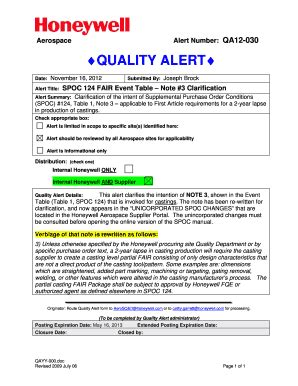 Quality Alerts Fill Online Printable Fillable Blank Pdffiller Manufacturing Quality Alert Template