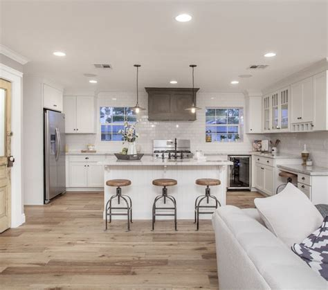 white kitchen light wood floors kitchen and decor
