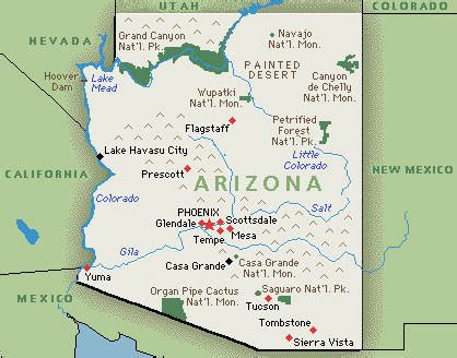 arizona on the united states map state of arizona
