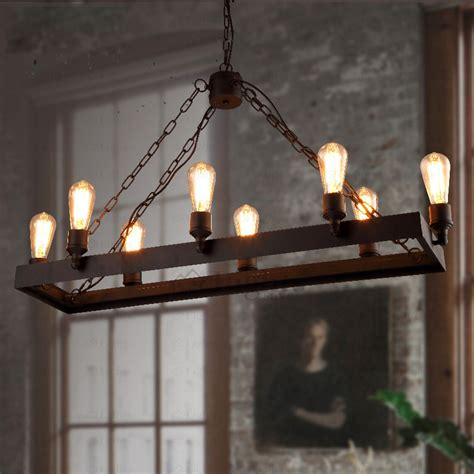 Rectangular Shaped Chandeliers Rustic 8 Light Wrought Iron Industrial Style Lighting Fixtures