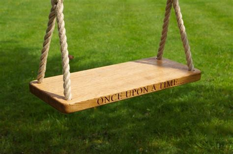 garden rope swing engraved oak swings with rope makemesomethingspecial com