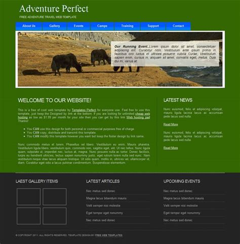Free Adventure And Recreation Web Template Template Adventure Website Templates
