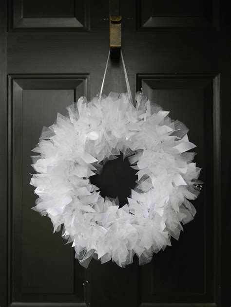White Wedding Wreath with sparkly tulle and beading