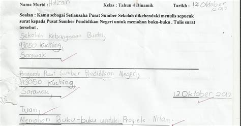coretan cikgu sal nota dan contoh penulisan surat kiriman