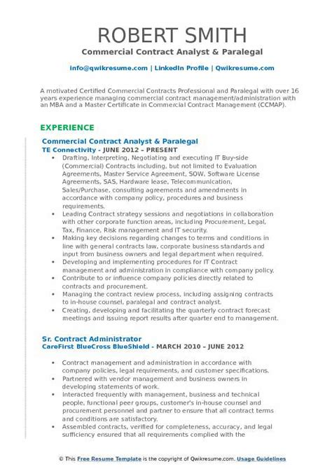 Contract Analyst Sle Resume by Contract Analyst Resume Sles Qwikresume