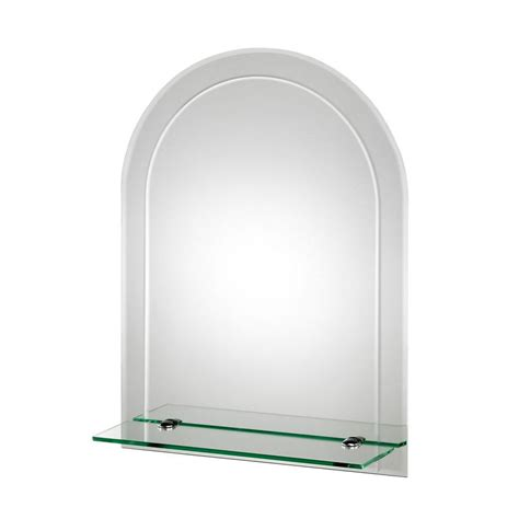 Arched Bathroom Mirrors Croydex 18 In X 24 In Fairfield Beveled Edge Arch Wall Mirror With Shelf And Hang N Lock