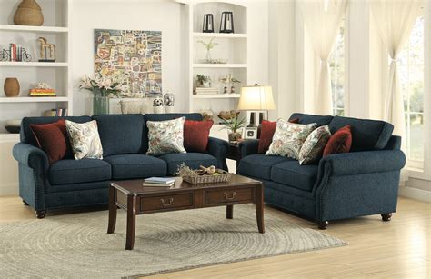navy sofa set homelegance summerson sofa set polyester navy 8305fa