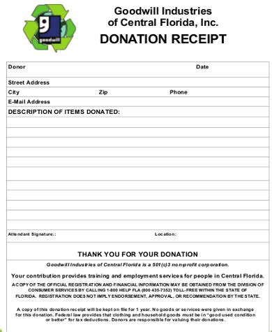 goodwill charitable donation receipt template 13 goodwill donation receipt sle templates