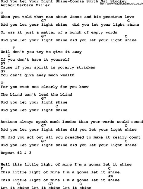 In Your Light Lyrics by Country Did You Let Your Light Shine Connie Smith