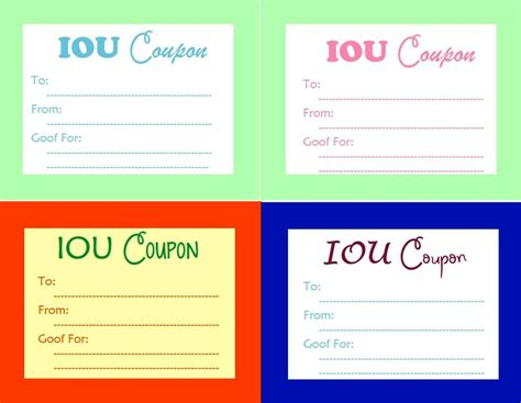search results for free printable iou template