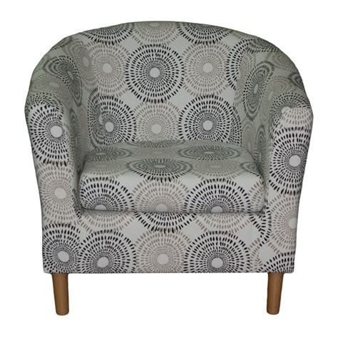 Grey Patterned Tub Chair | floral tub chair retro style grey patterned fabric