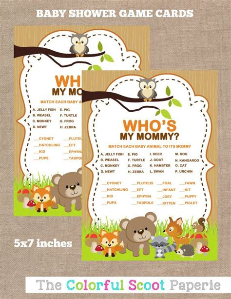 printable baby animal game 17 best images about woodland baby shower on pinterest