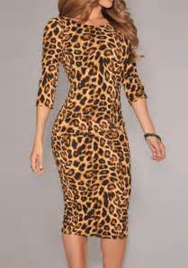 Print pullover women dress sexy bodycon dress leopard print jpg