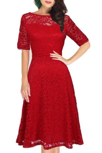 Sleeve A Line Midi Lace Dress boat neck half sleeve midi a line lace dress