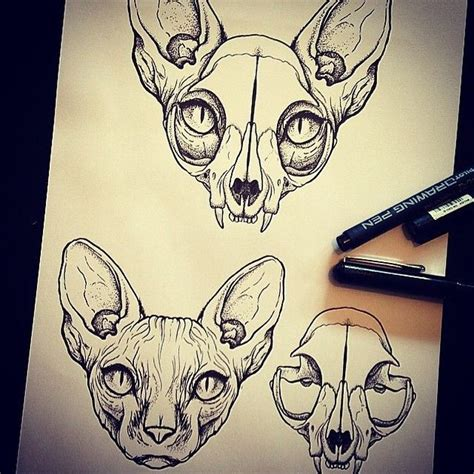 tattoo sketch cat cat skulls with ears yes tattoos on my brain
