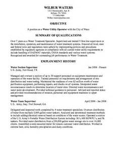 water utility operator resume sample resumes design