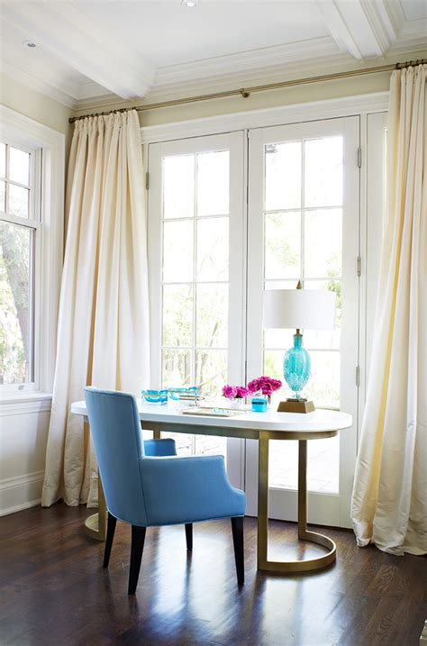 exquisite home office decor with curtain and blue