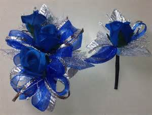 royal blue corsage royal blue silk corsage n boutonniere set prom n wedding