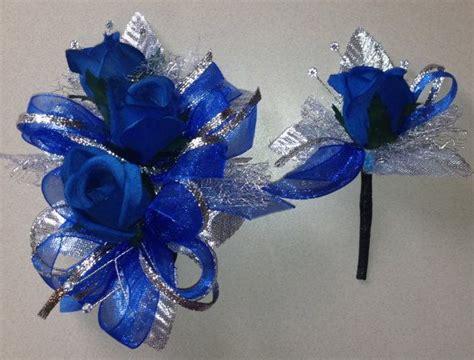 46 Tefity Set 3in1 Royalblue royal blue silk corsage n boutonniere set prom n wedding