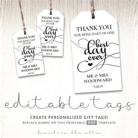 Gift tags for wedding day, thank you best day ever