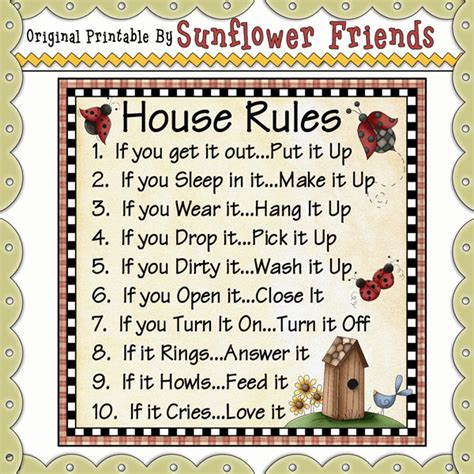 printable house rules poem huis reels on pinterest house rules daily schedules and