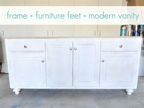 add vanity to pedestal how to add furniture feet to a builder grade base