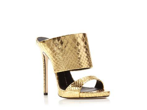 slide high heel sandals giuseppe zanotti cole metallic snake embossed slide high