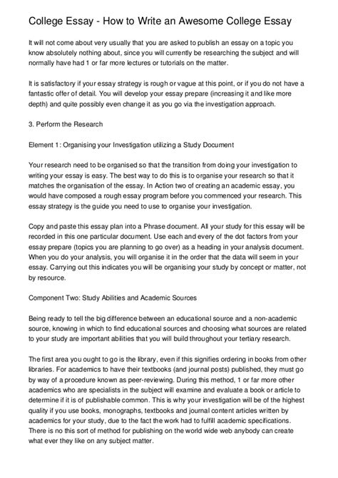 How To Write Essays by College Essay How To Write An Awesome College Essay